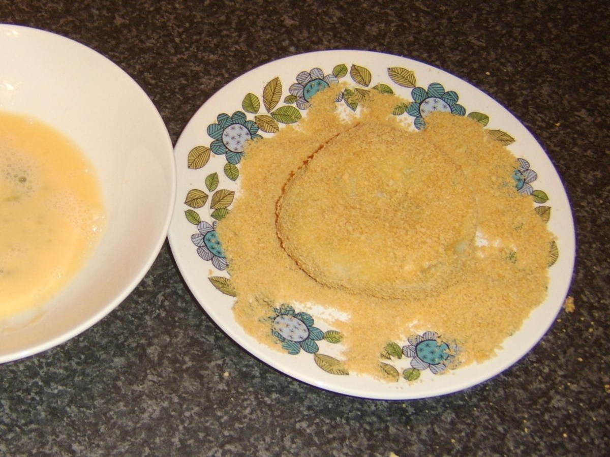 Pollack fishcake is dredged in breadcrumbs