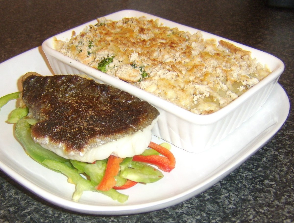 Simply grilled pollack fillet with cheese crusted broccoli and potatoes