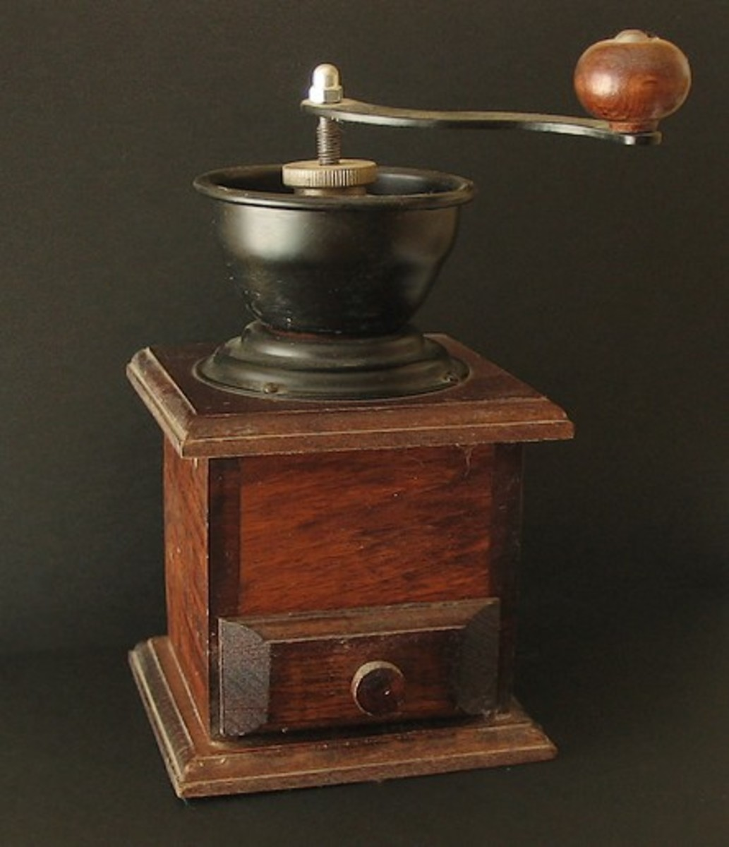 An old-fashioned coffee grinder.