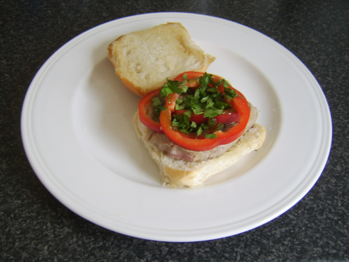 Bell pepper and jalapeno relish on steak sandwich