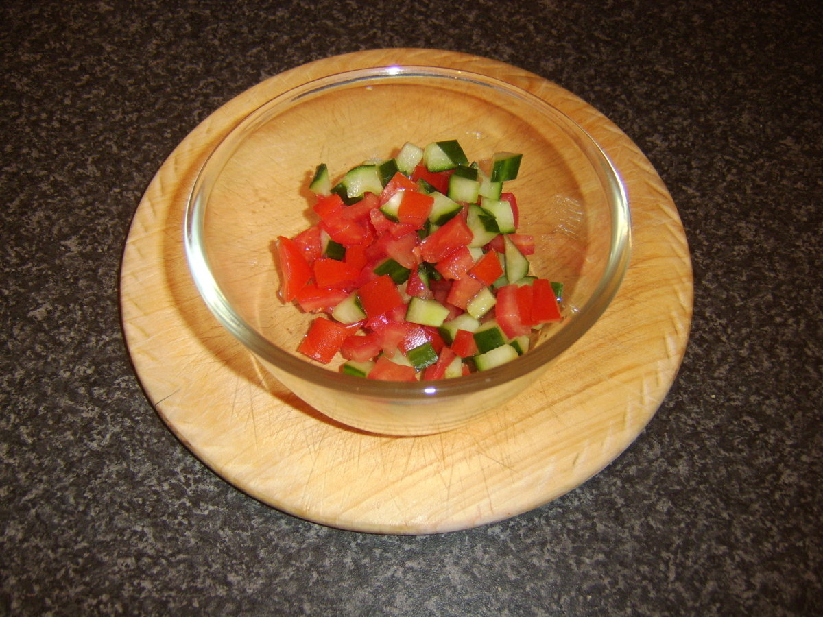 Diced tomato and cucumber