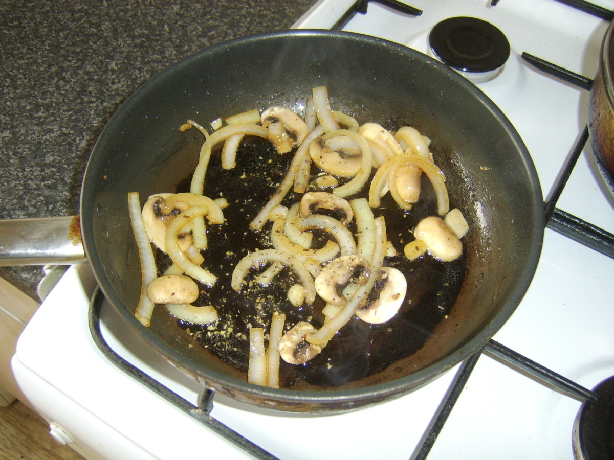 Mushrooms and onion are fried with sage