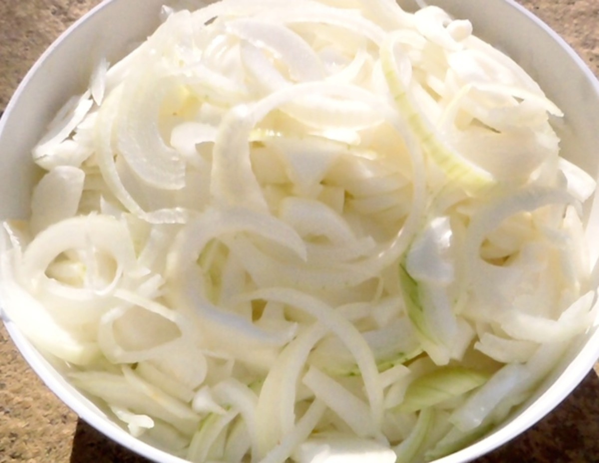 Sliced Onions Ready for French Onion Soup