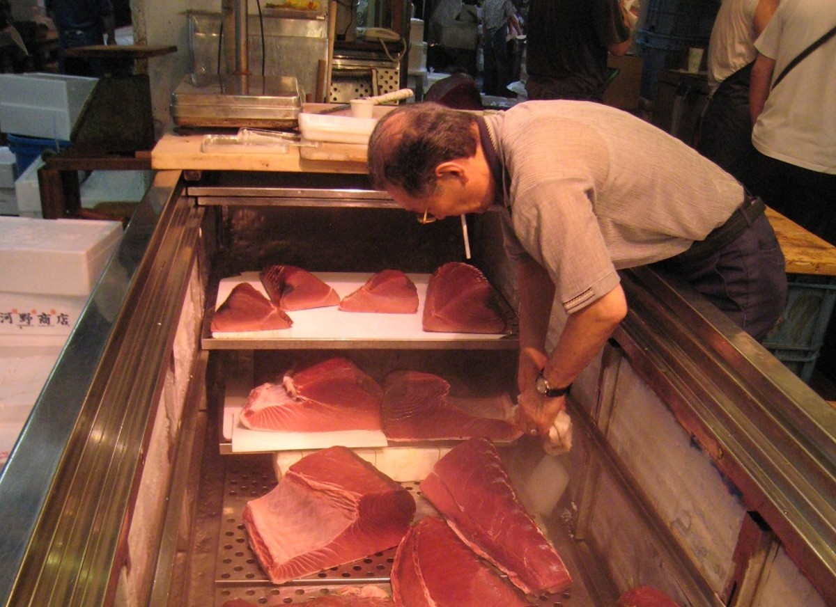 Tuna is kept frozen in large portions at this Tokyo fish market.