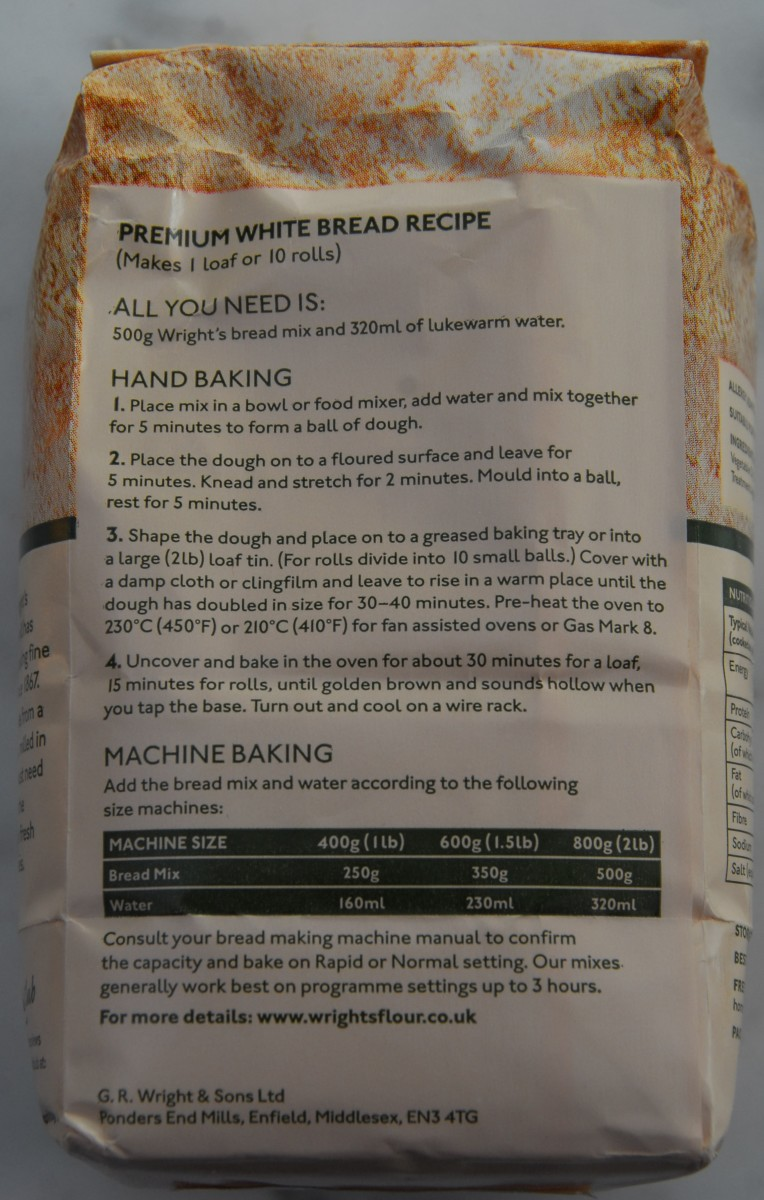 Wright Premium Bread Mix for Hand Baking or Bread Machine Baking
