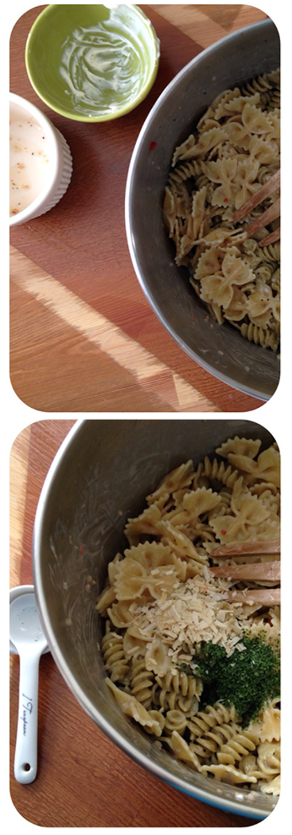 Combine the pasta with the Italian dressing and Miracle Whip, then stir in the parsley and seasonings.