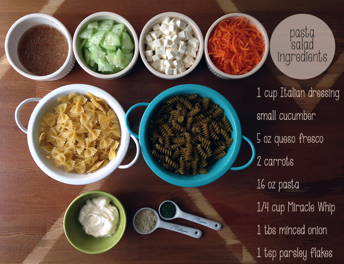 The ingredients for this pasta salad recipe.