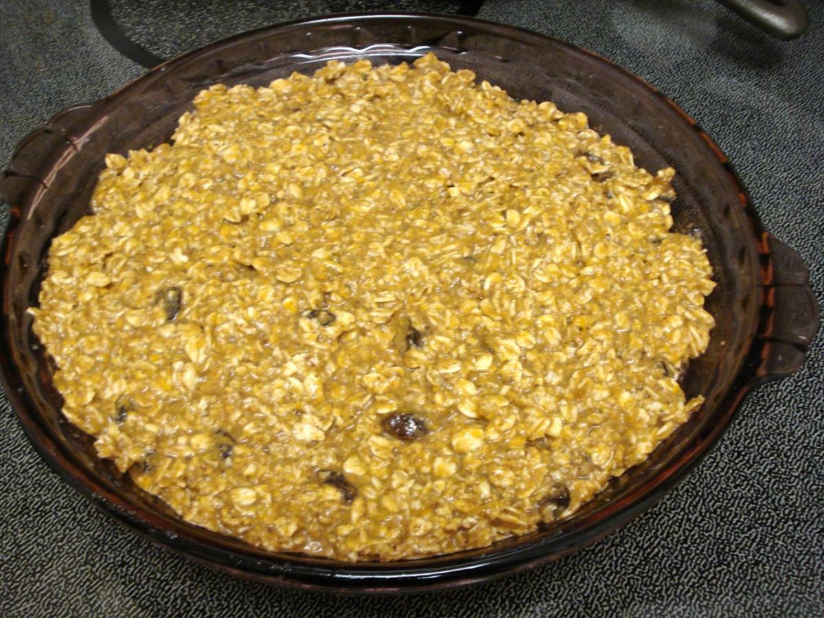 Pumpkin Raisin Variation, Uncooked, in Greased Pie Pan