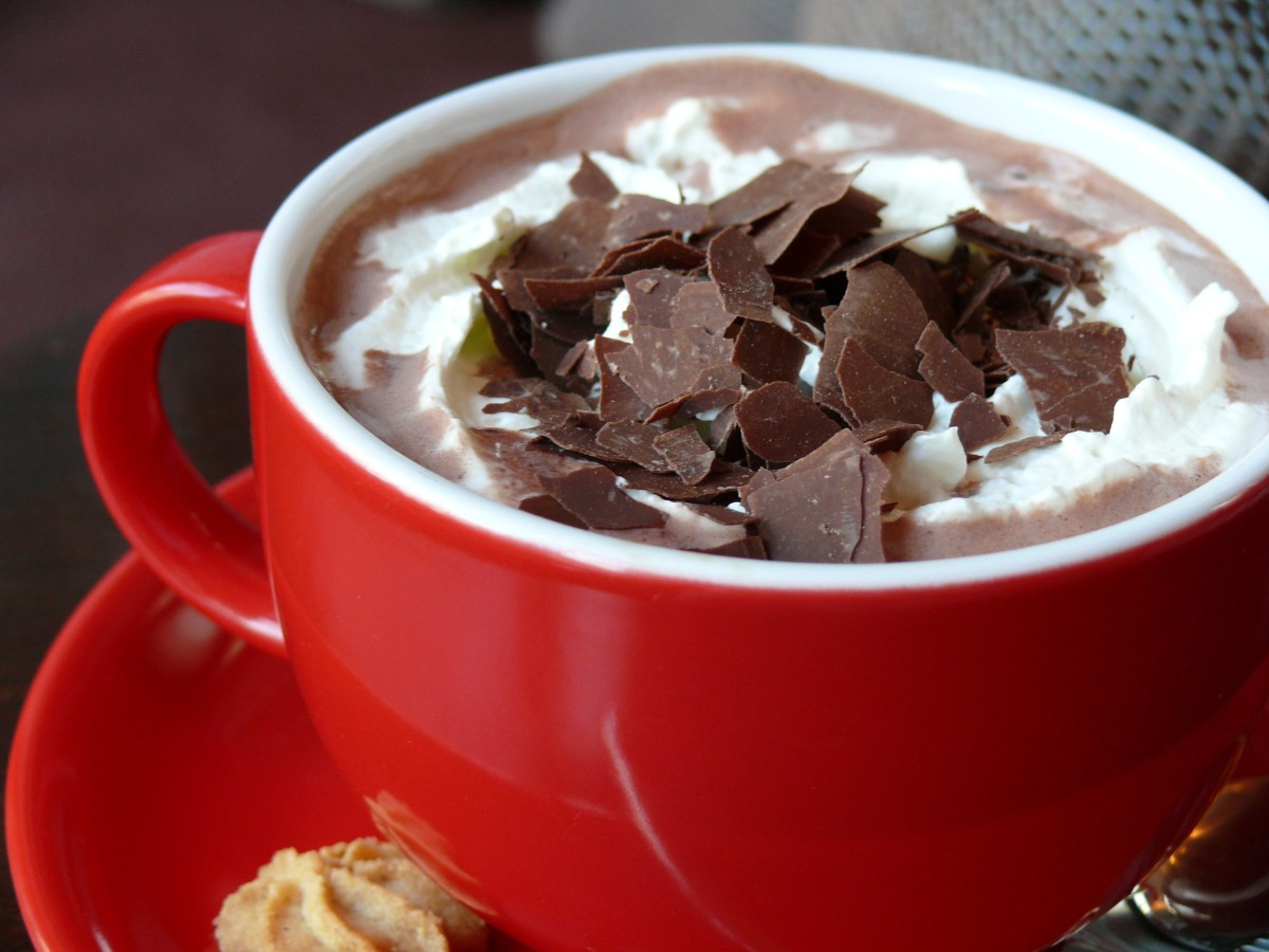 Steaming hot chocolate topped with whipped cream and chocolate shavings. What a tasty, warm treat.