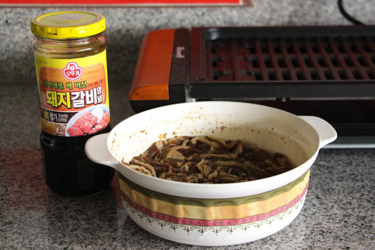 Step 1: Marinate the pork belly in Korean BBQ sauce