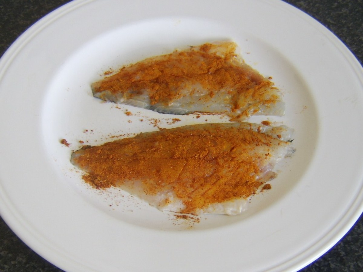 Curry rub is applied to sea bream fillets