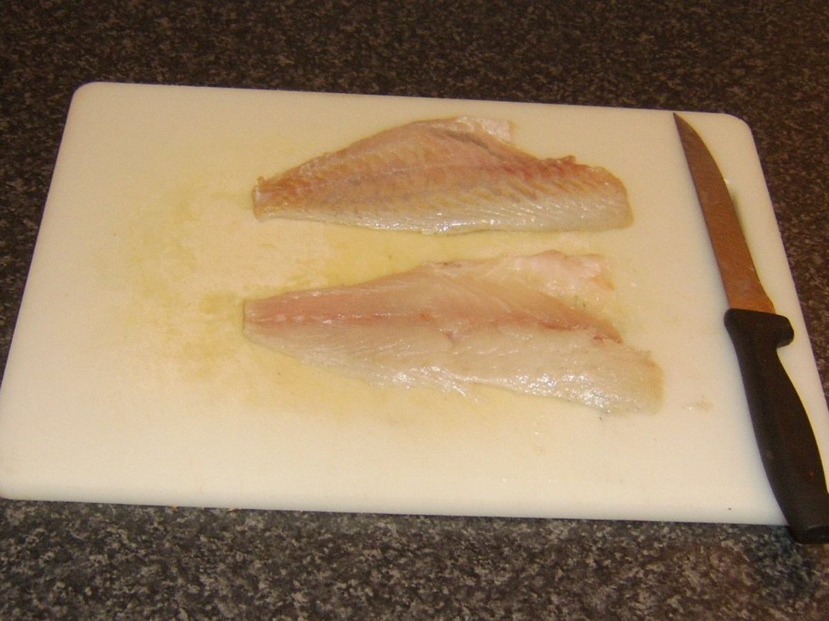 Skinned sea bream fillets