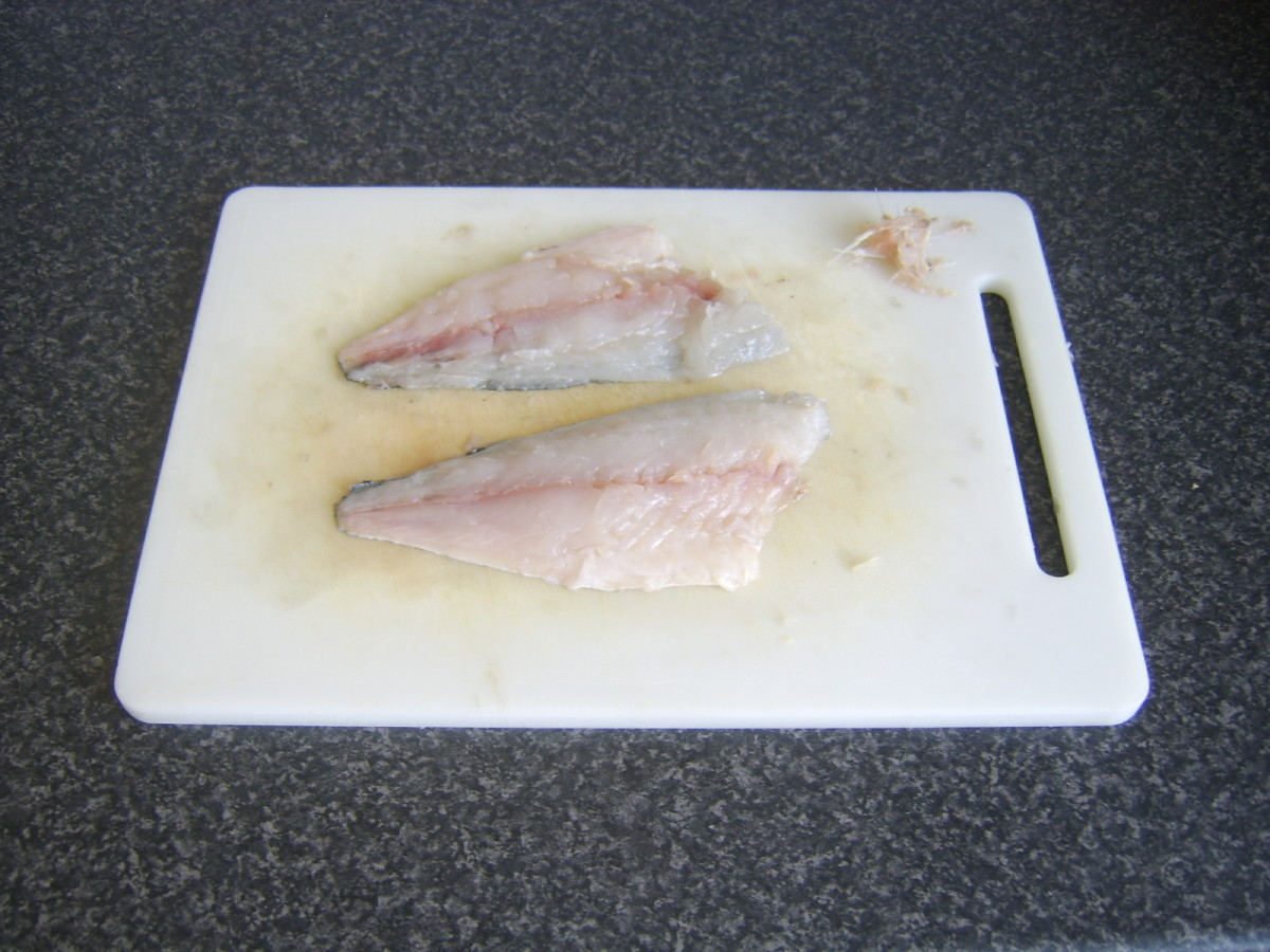 Sea bream fillets have been pinboned