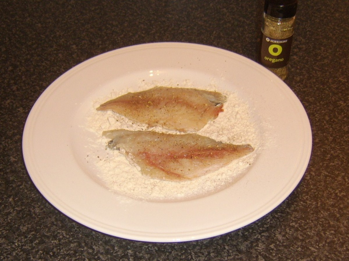 Bream fillets are patted in seasoned flour