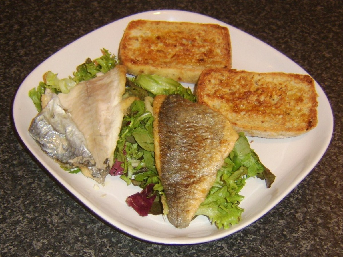 Crisp skin peels easily from fried sea bream fillets