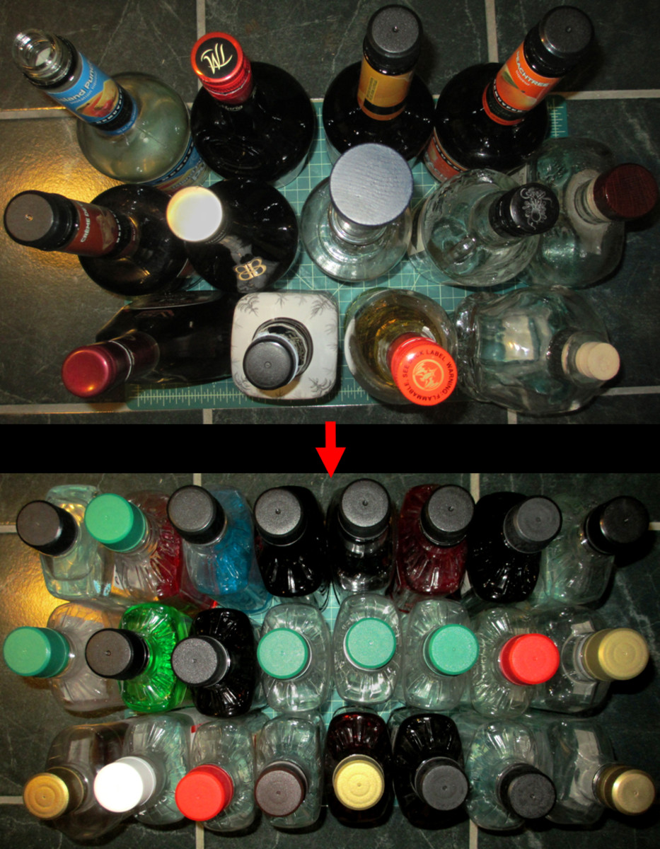 By laying out 750 ml bottles purchased from the store on a green mat, you can see how it only fits 13 different types of alcohol, compared to 24 types when transferred into the tall, flat, plastic 750 ml bottles.