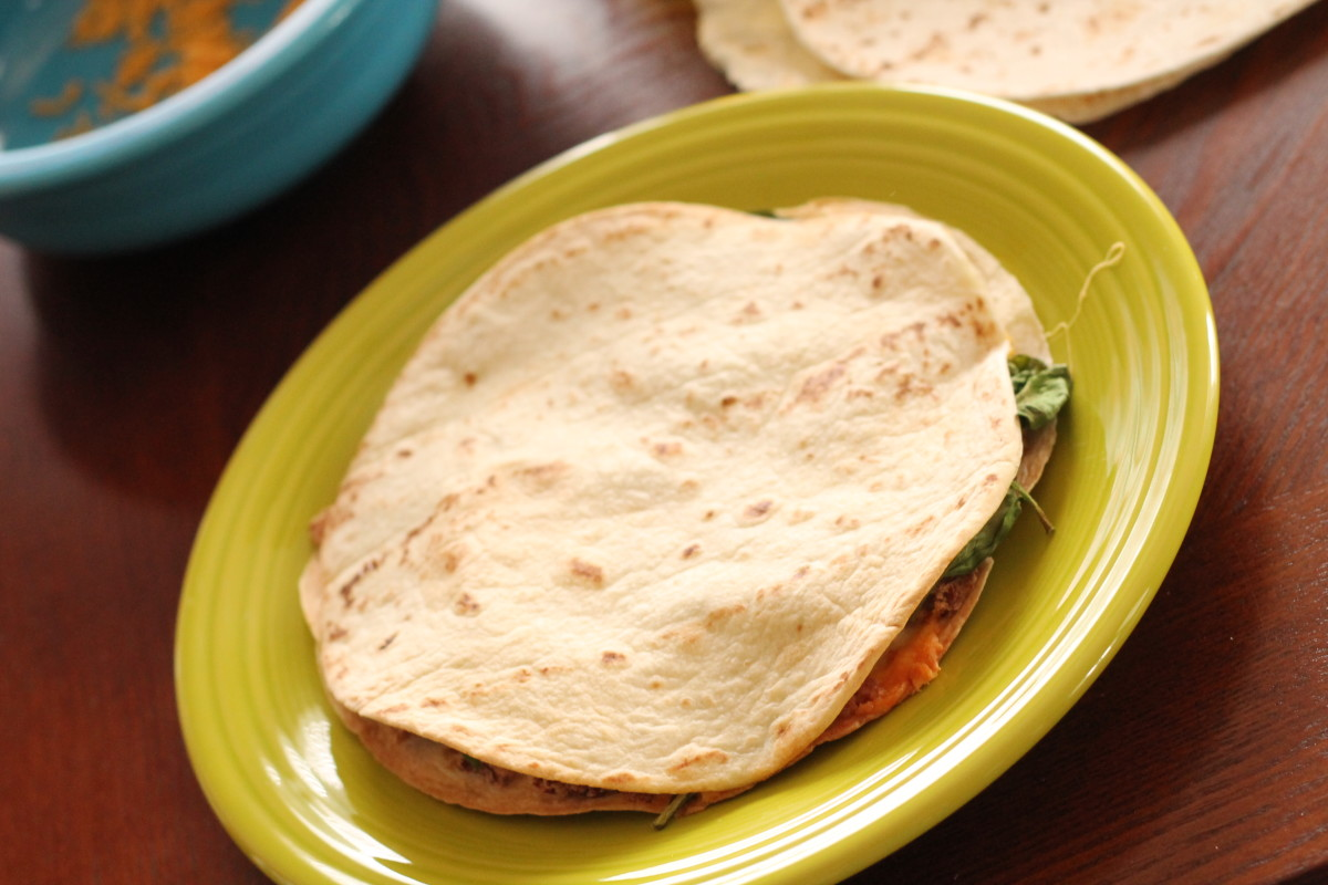 A baked vegetable quesadilla.