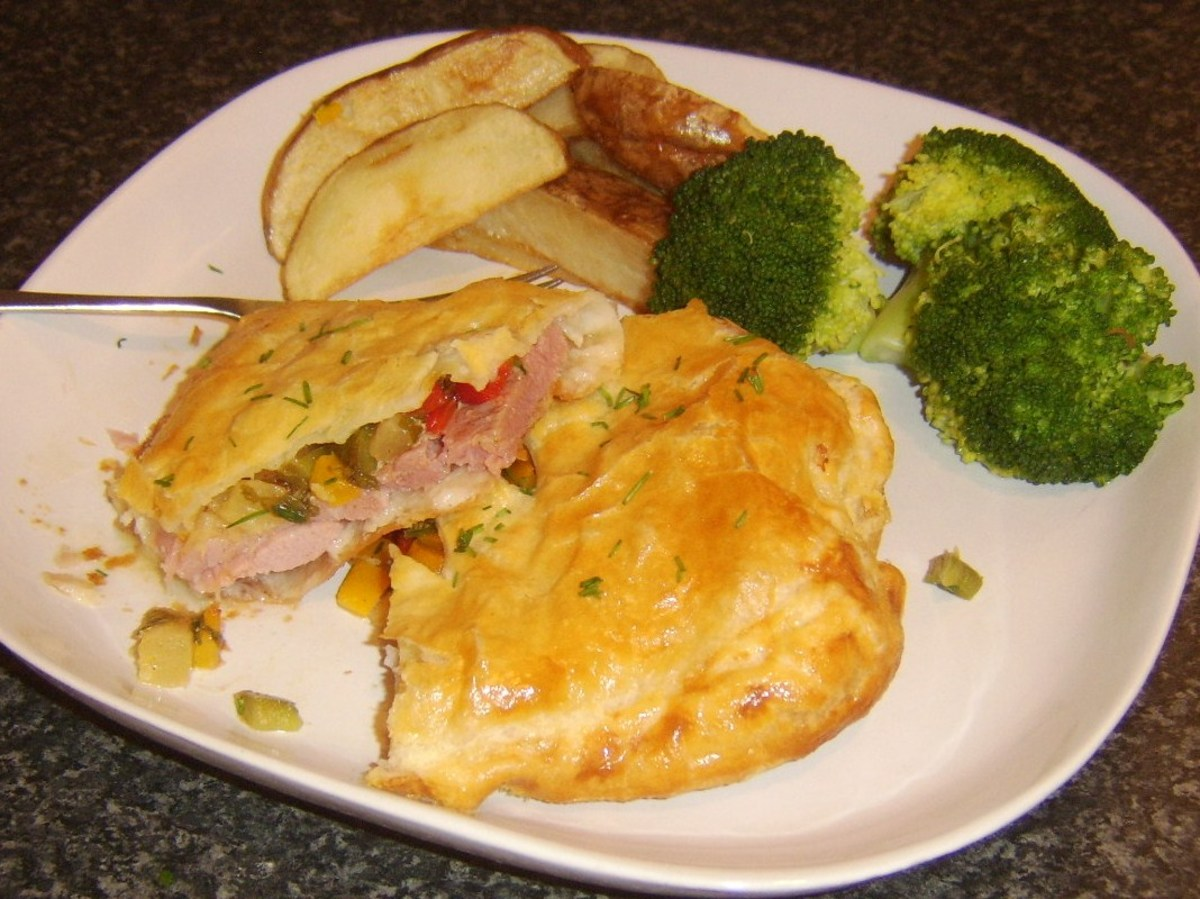 Tucking in to gammon steak en croute with spicy pineapple filling