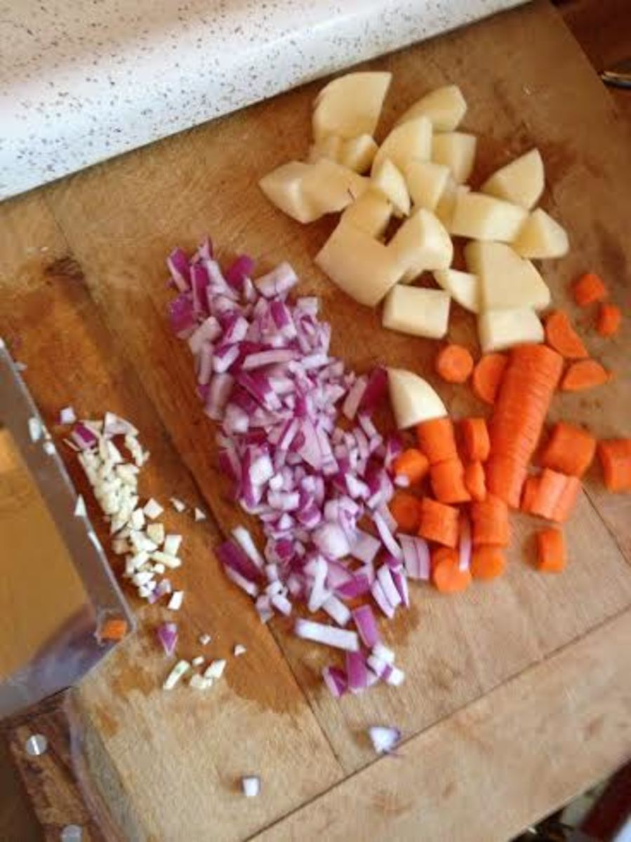 Vegetables chopped and ready to go into the filling.