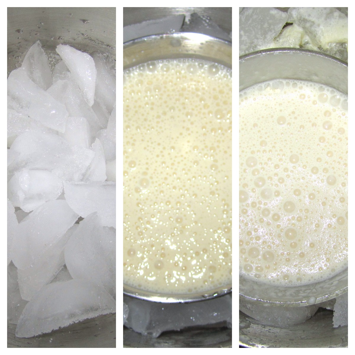 Left: The large mixing bowl filled with ice and salt. Center: The smaller mixing bowl filled with Dole mixture inside the larger bowl. Right: Mixing bowls after being frozen for 45 minutes.