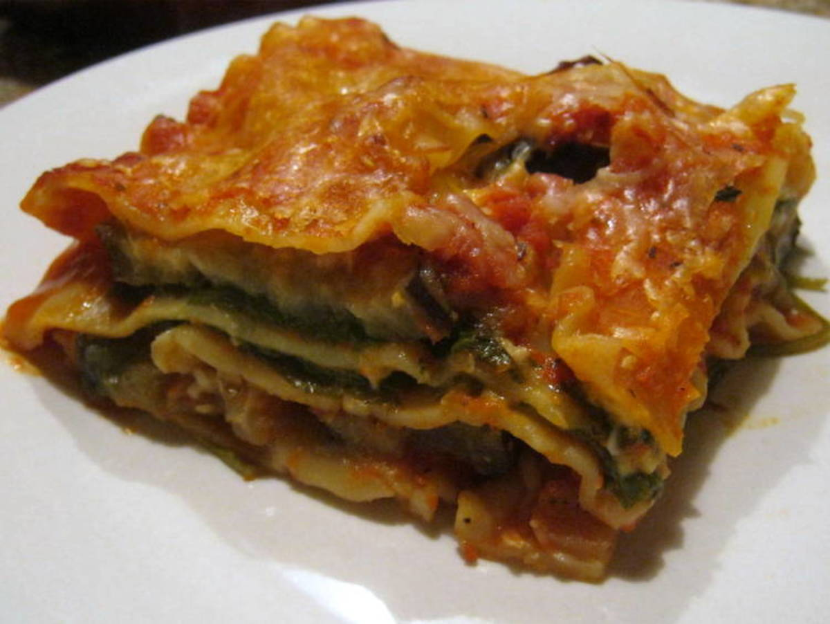 Lasagna with eggplant and spinach. Luscious layers of veggie lasagna.