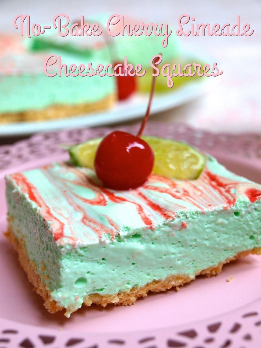 Just look how delicious these no bake cherry limeade cheesecake squares look!