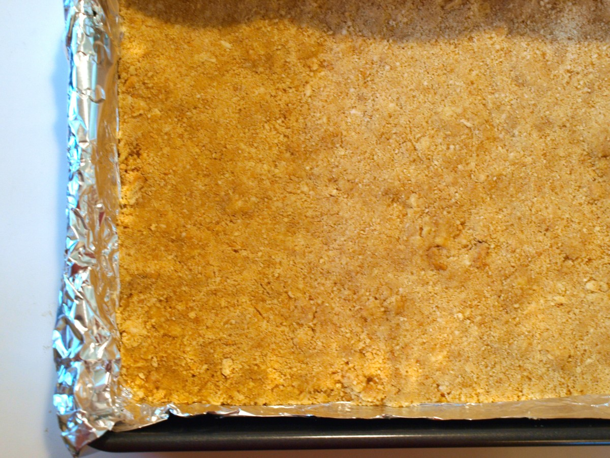 3. Spread the cookie crumbs evenly on the bottom of the 13x9 pan.  Cool until ready to use.