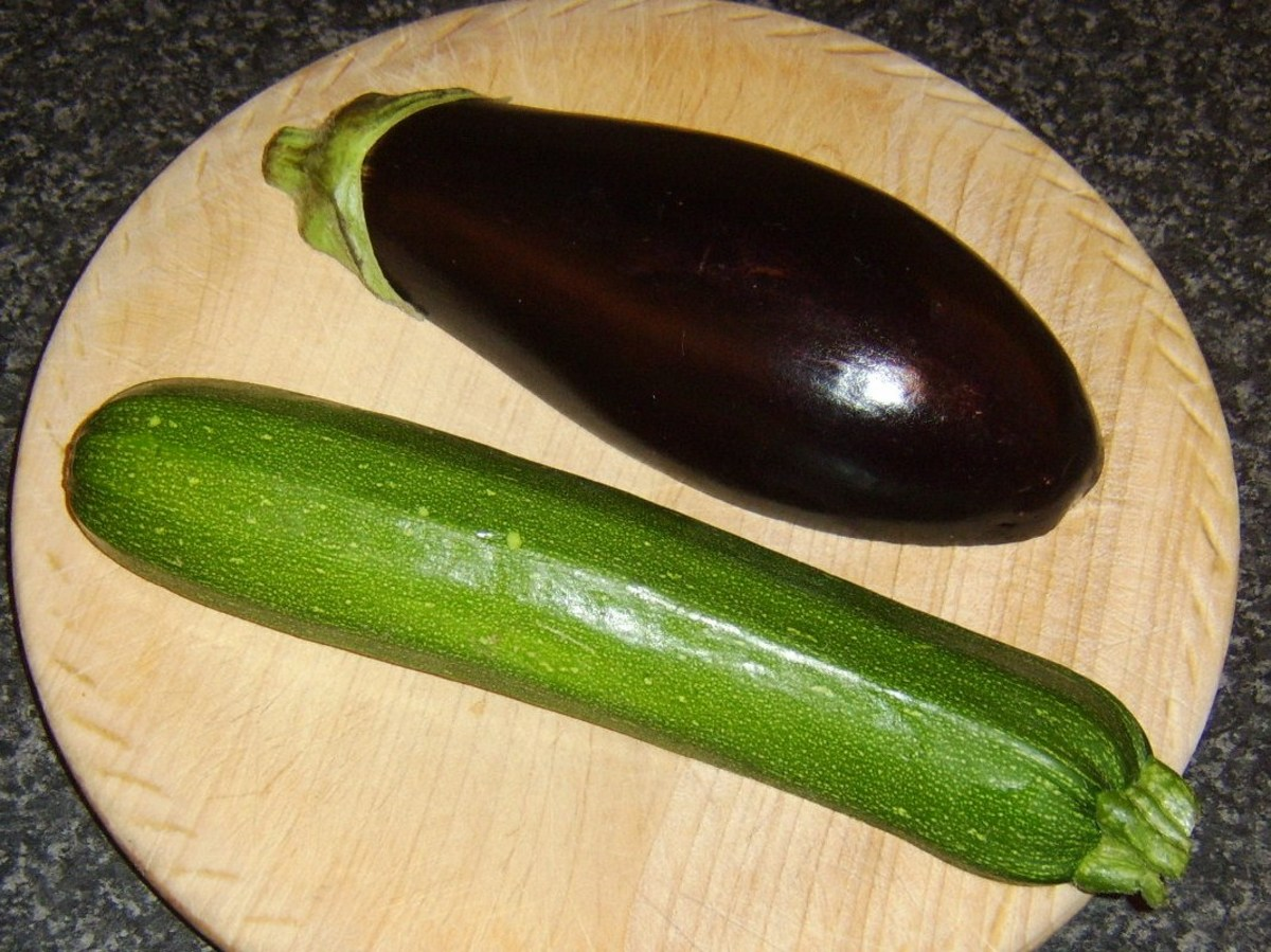 Have an aubergine/eggplant and courgette/zucchini