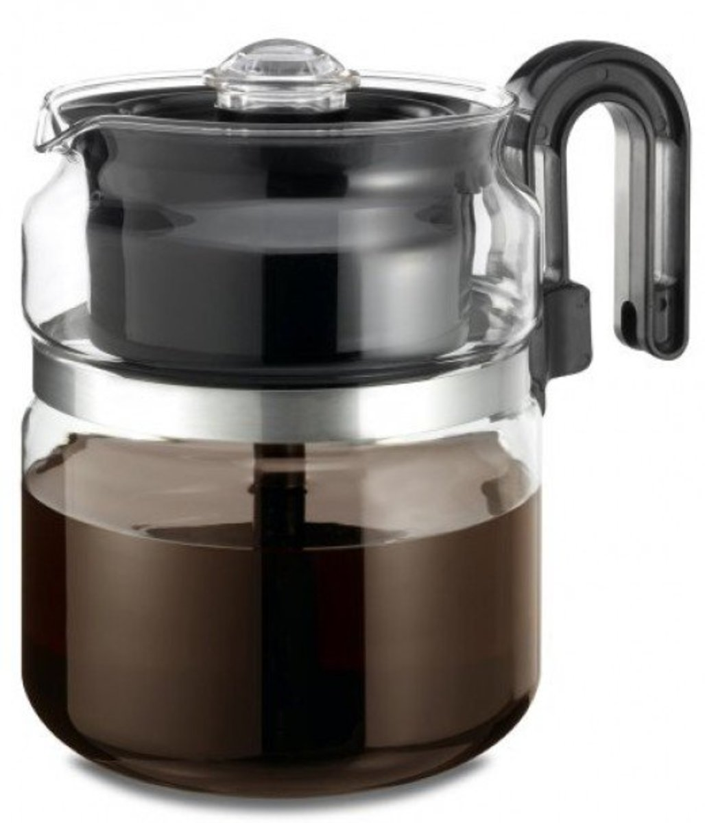 The Medelco 8-cup is constructed from borosilicate glass.  This top-rated stovetop percolator is dishwater safe and has a stay cool handle, making it comfortable and convenient, as well as stylish and easy to use.