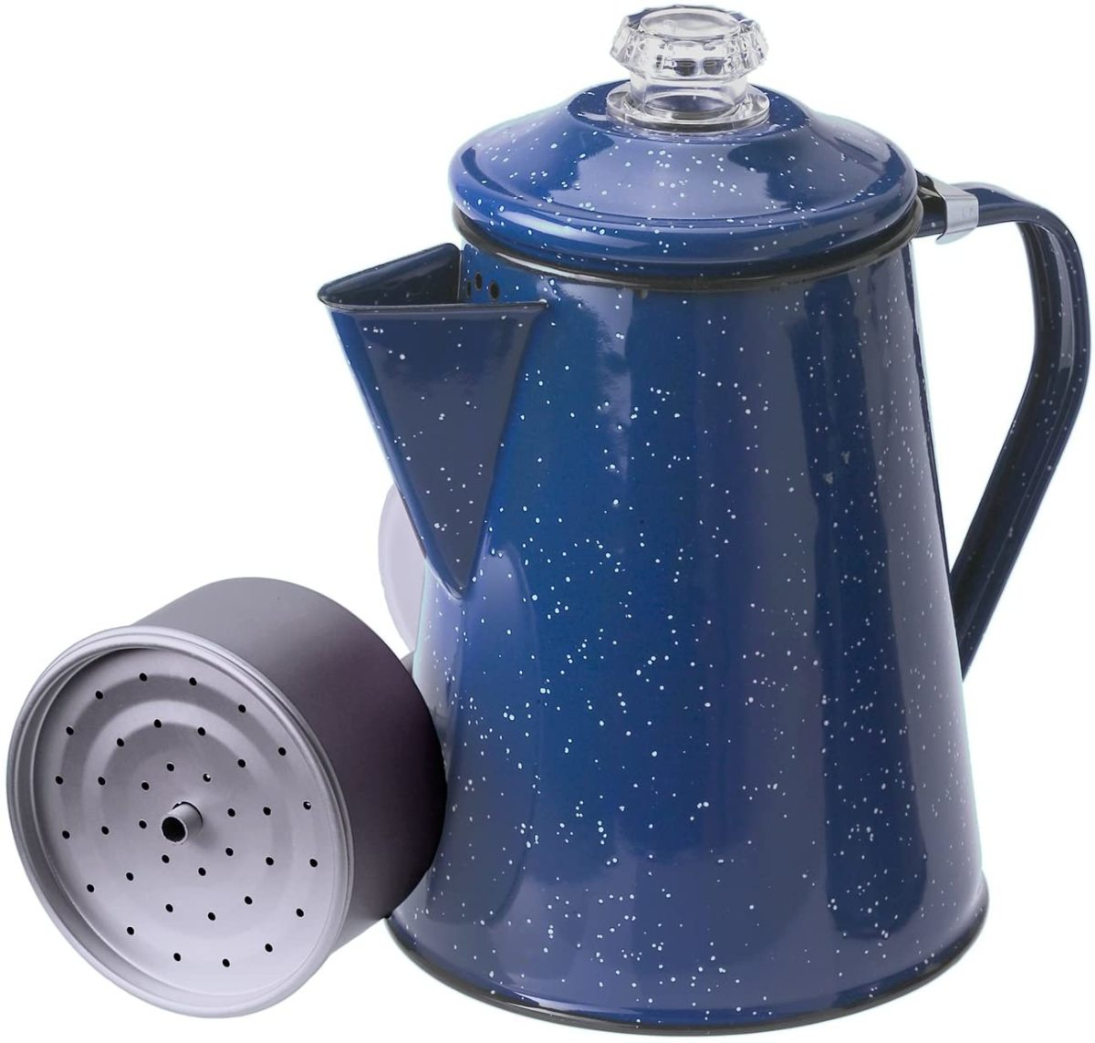 GSI Outdoors 8 Cup Enamelware Percolator for Coffee. An excellent brewer for camping trips and outdoor use.