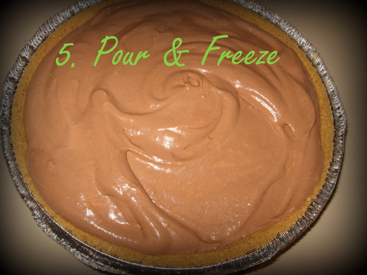 The last step is simple.  Pour into a graham cracker crust and freeze until ready to serve!