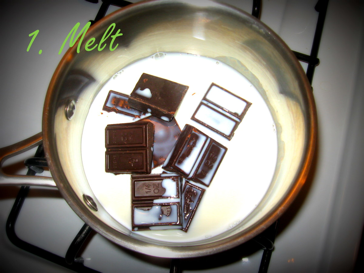 Melt the German Chocolate with milk over the stove.