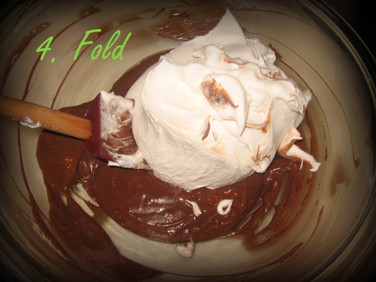 Fold in the final ingredient into the chocolate mixture.  Almost done!