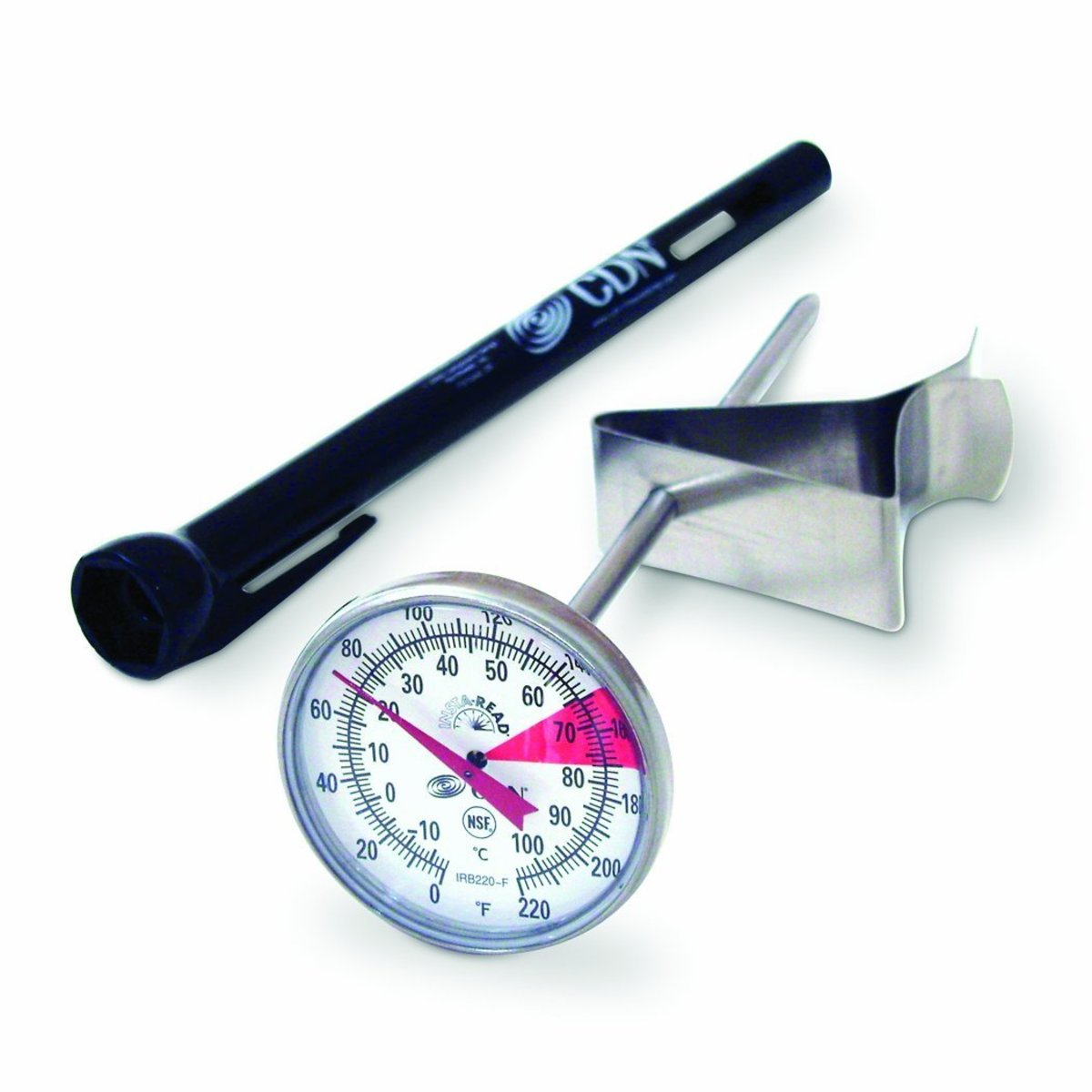 The CDN IRB220-F ProAccurate Insta-Read is an ideal device for use with a smaller frothing pitcher.  It's easy to read and accurate dial won't get in the way of your wand and the CDN IRB220-F won't take up too much space in your kitchen drawer.