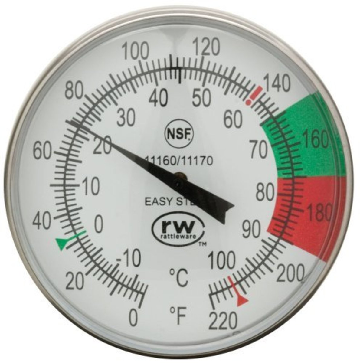 The Rattleware 5-Inch Easy Steam Thermometer is perfect for medium and large sized pitchers.  It has a long clip to hold the thermometer firmly in place and the dial is very easy to read, with green and red zones, as well measurements in both F and C