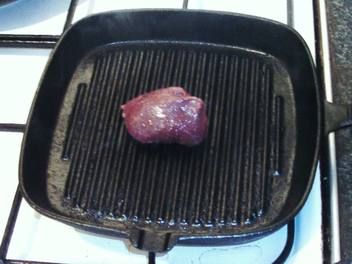 Starting to fry kangaroo steak