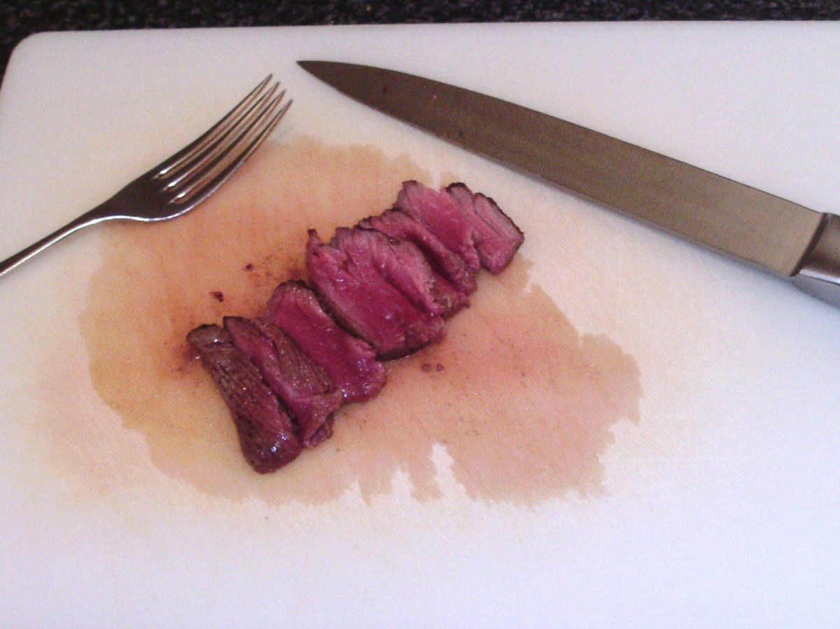 Kangaroo steak is thinly sliced