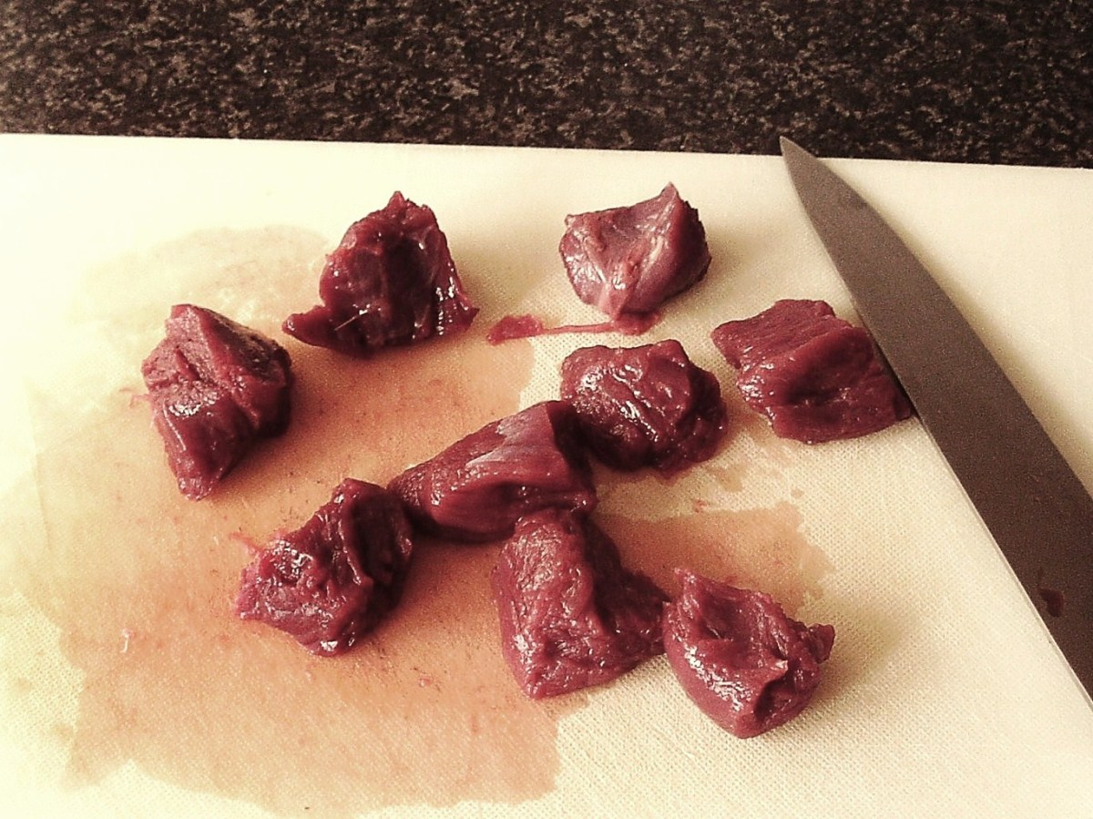 Kangaroo steak is diced for stewing