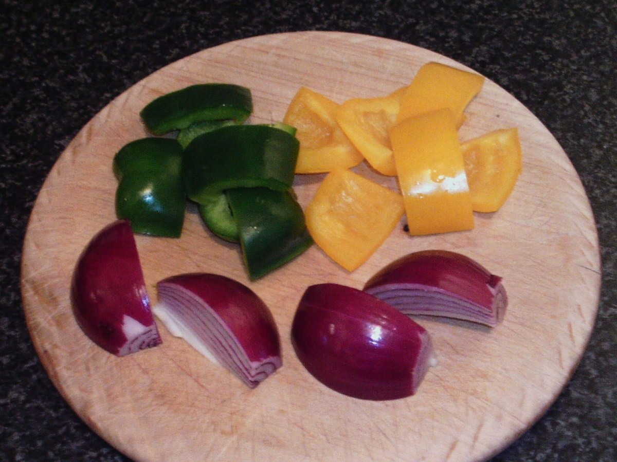 Chopped bell peppers and red onion