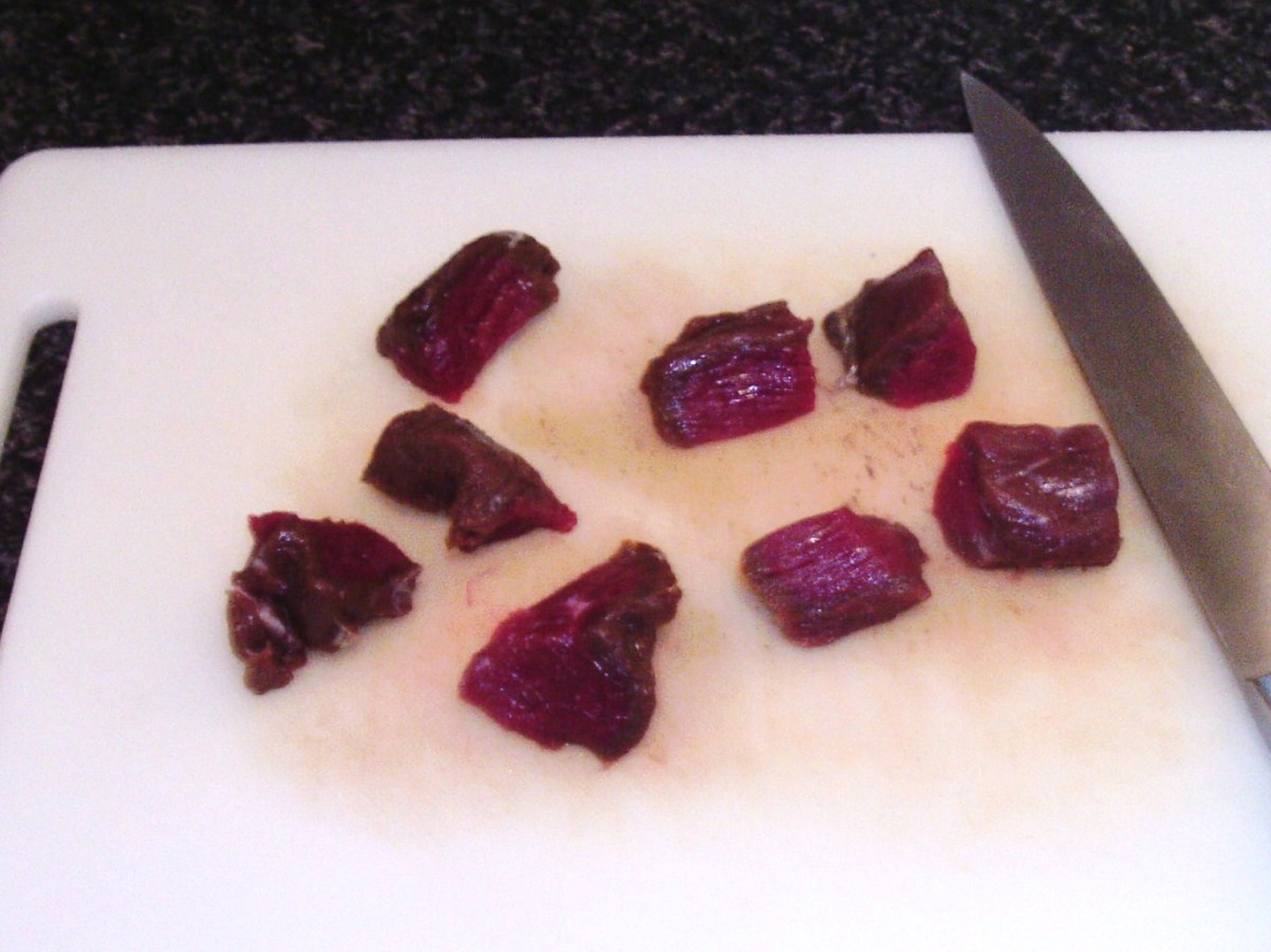 Diced kangaroo steaks