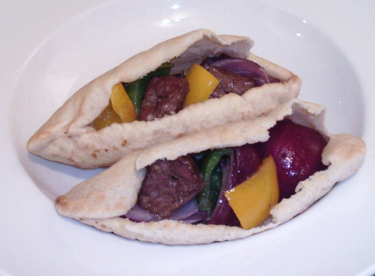 Kangaroo and peppers shish kebabs are served in pitta bread pockets