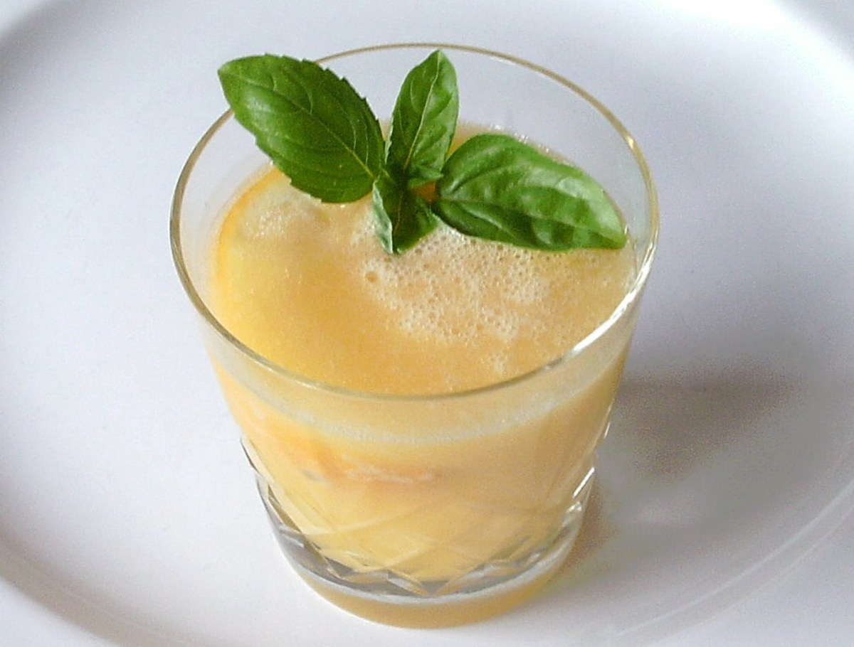 A Michelle's Mellow Yellow Fruity Fellow cocktail is blended pineapple, mango and grapefruit with vodka
