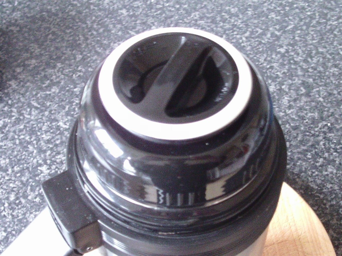 Lid is screwed on to vacuum flask
