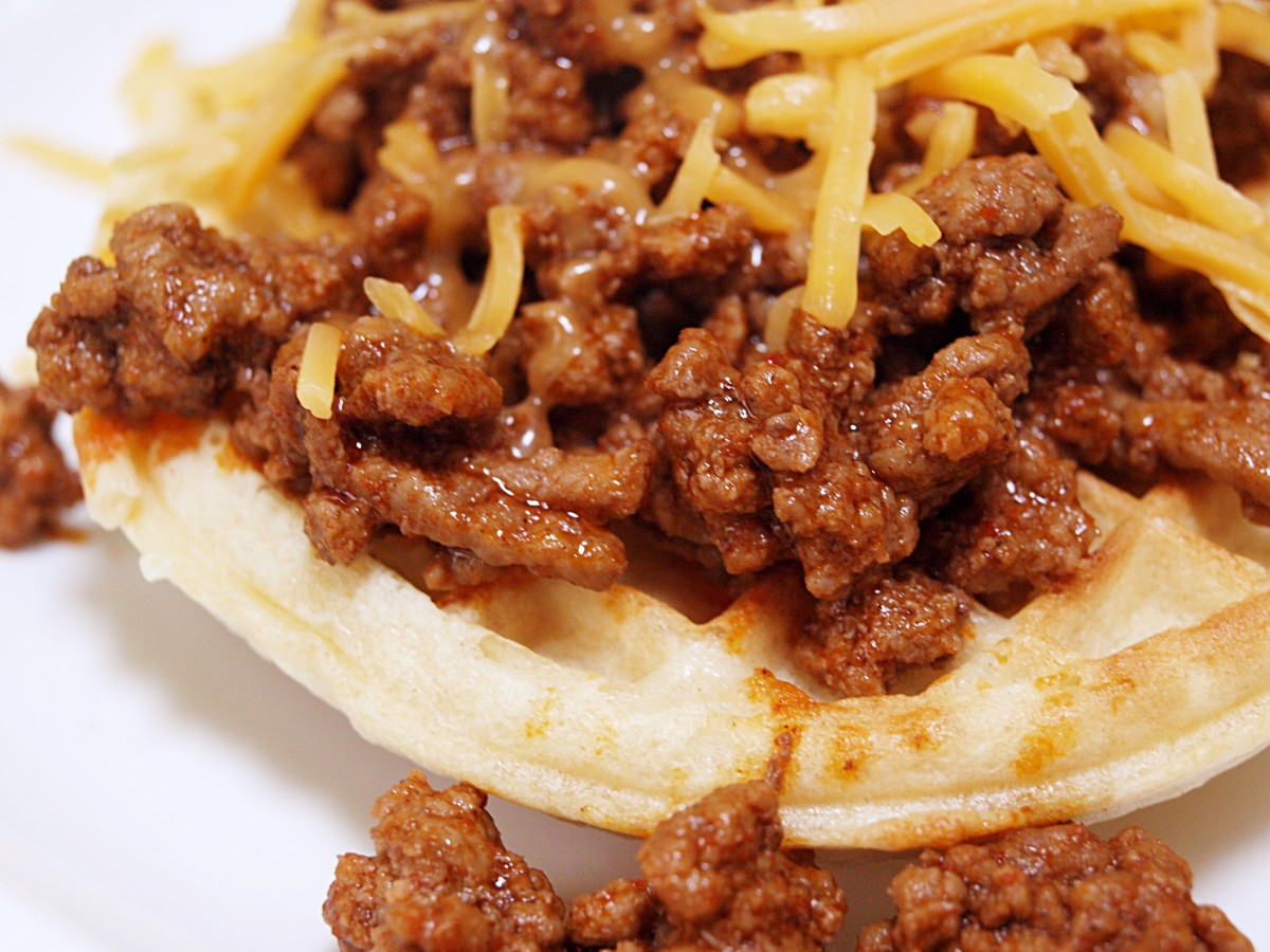 Leftover taco meat and some cheese on top of a toasted waffle makes a perfect lunch!