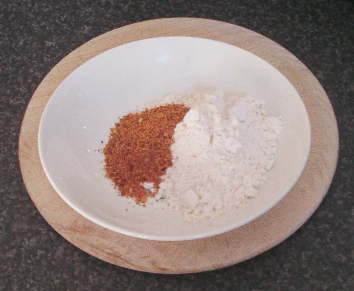 Fajitas spice is added to flour
