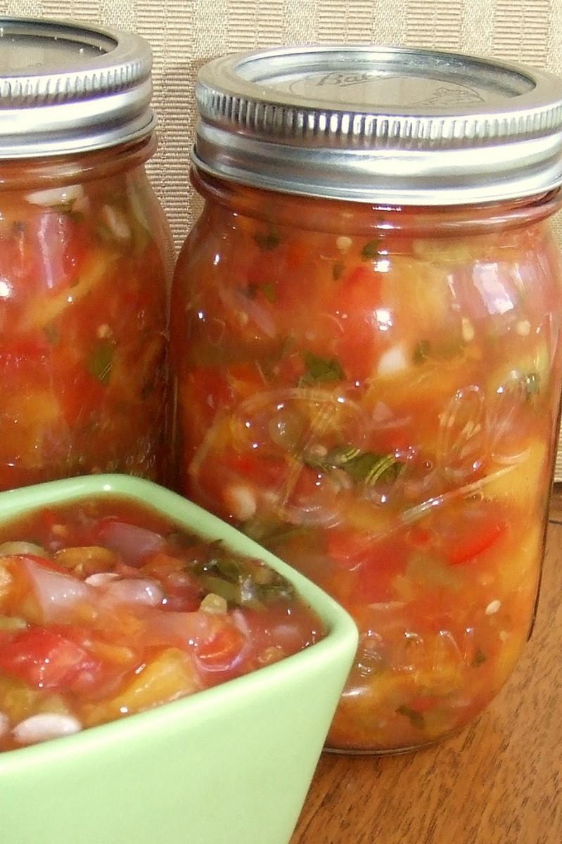 Cans of peach salsa.