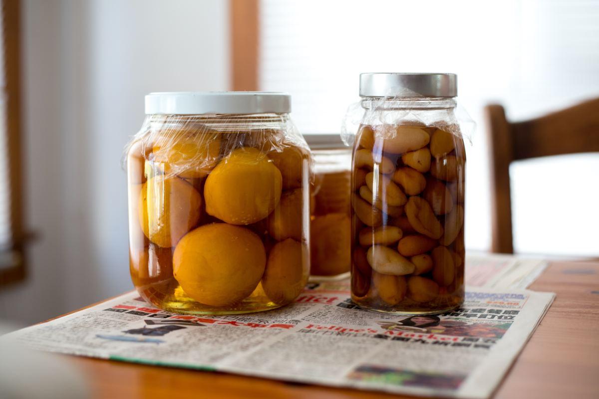 Jars of pickled fruits and vegetables.