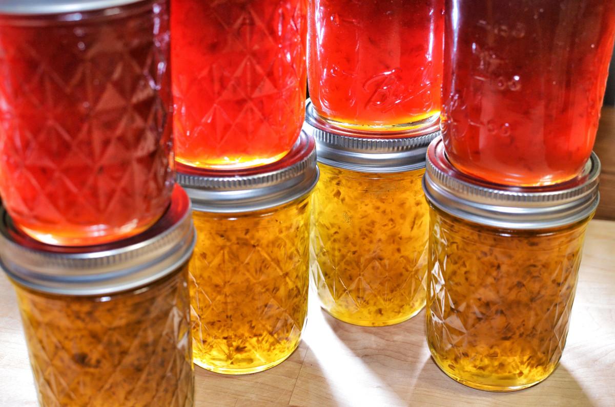 Homemade jalapeño pepper jelly.