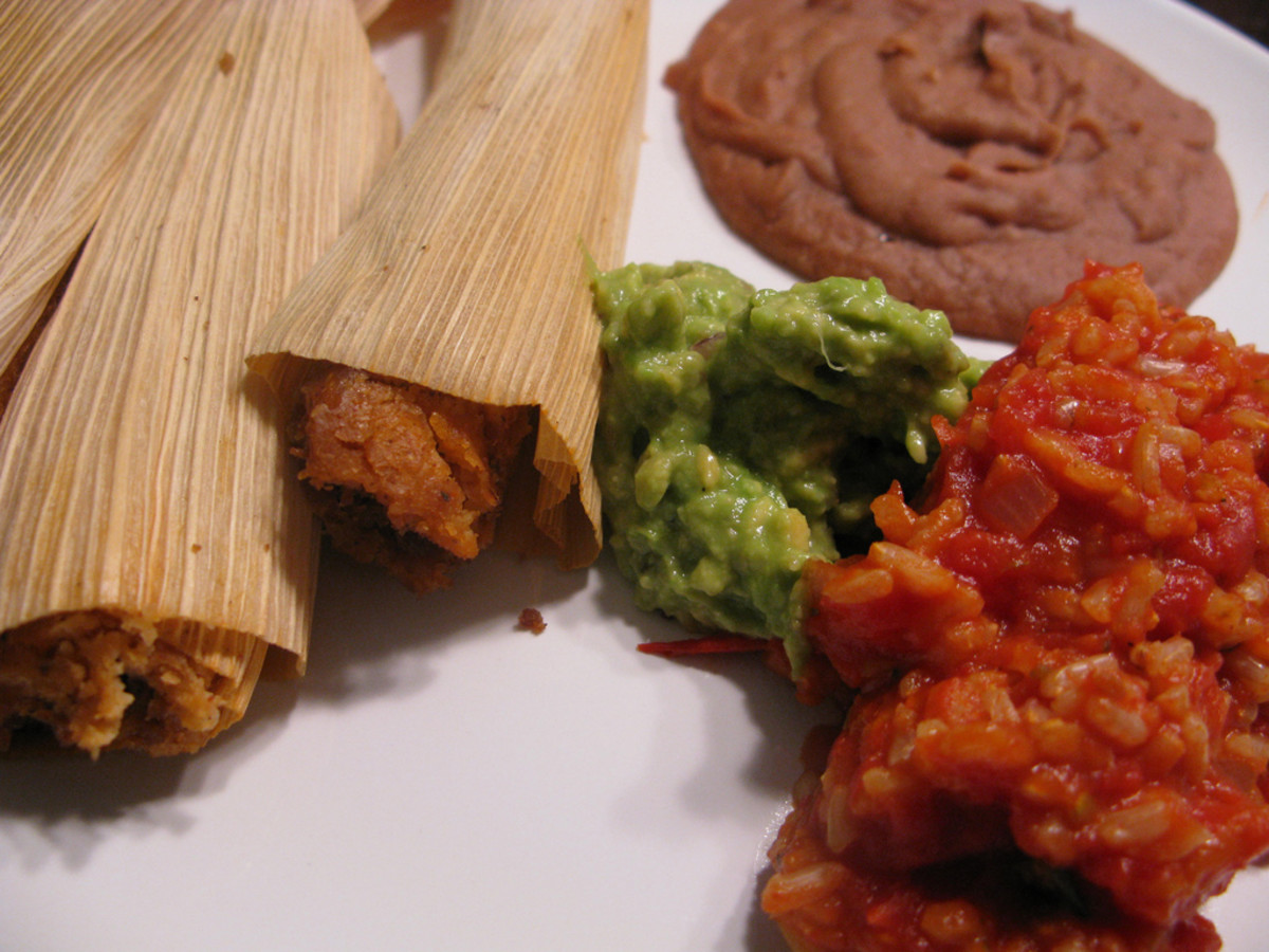 Vegan tamales with beans and rice.