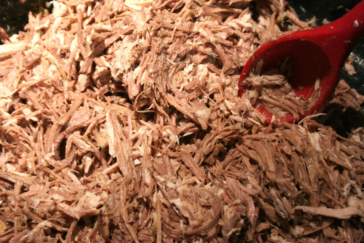 Shredded tamale meat for the filling.